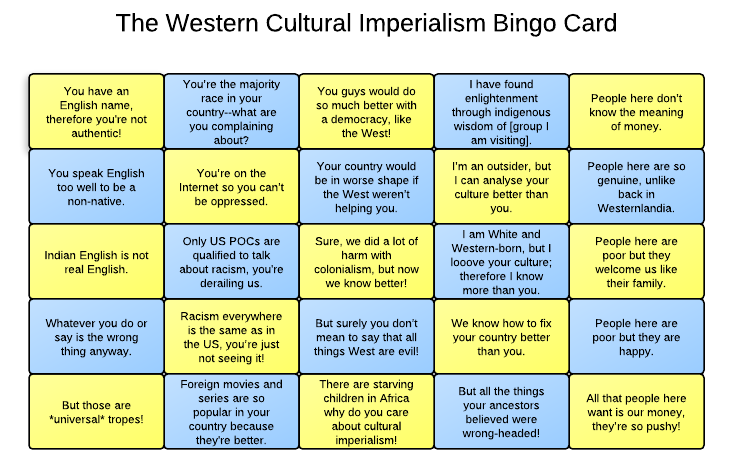 The Western Cultural Imperialism Bingo Card