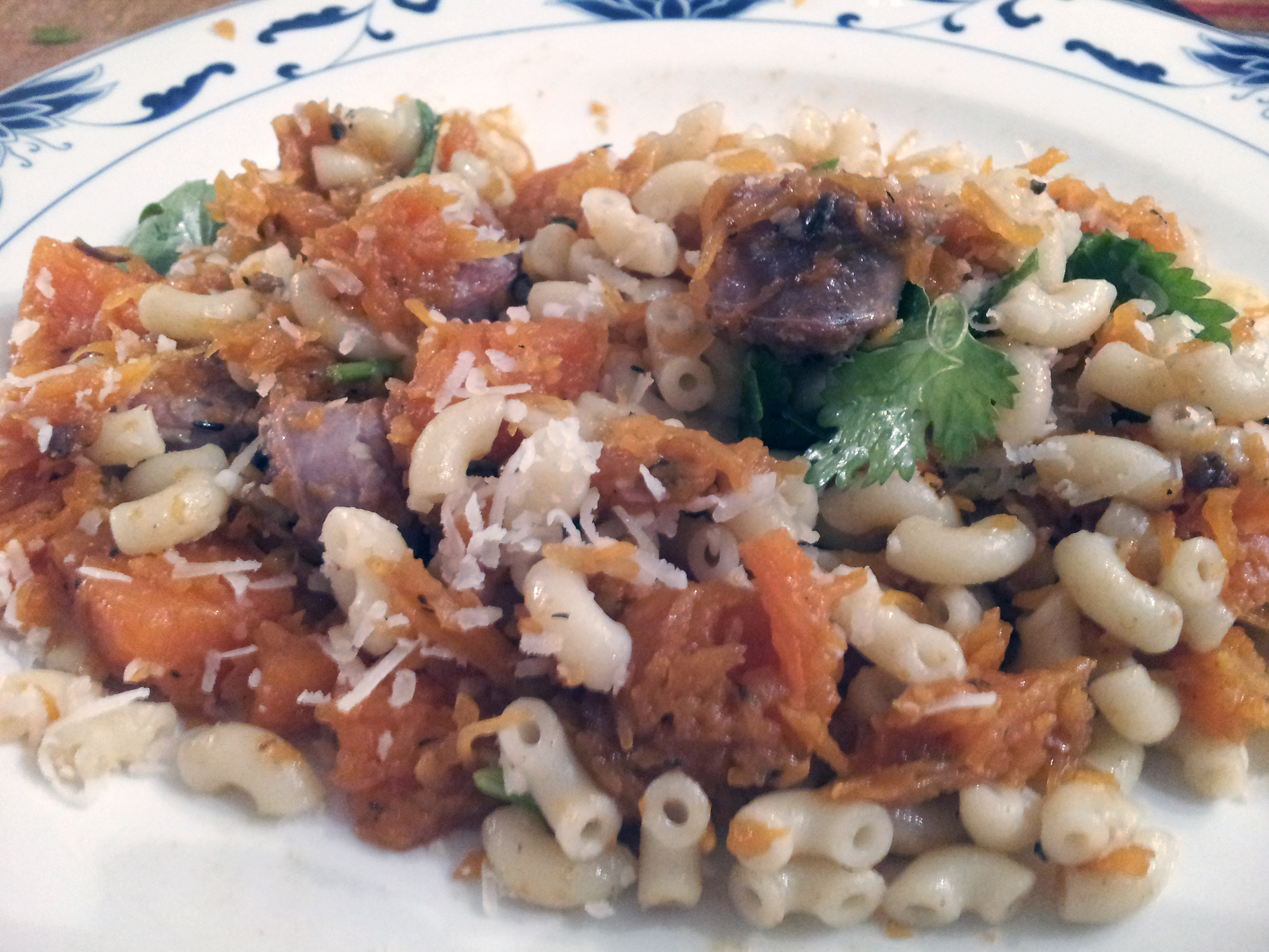 New recipe: pasta, pumpkin, sausage