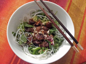 Bun thit nuong: barbecued pork on rice noodles