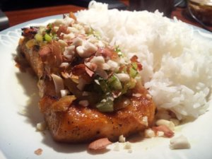 Ca nuong hanh mo (grilled salmon with scallion-infused oil)