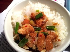 Ga kho gung: braised chicken with ginger