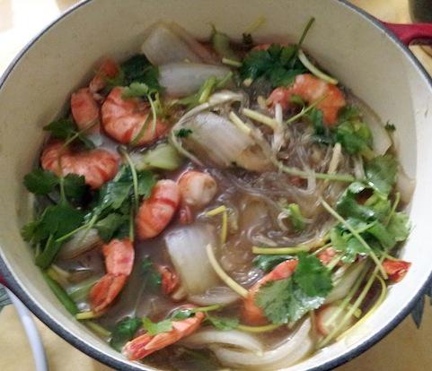 Tom kho to: Claypot shrimp with coriander