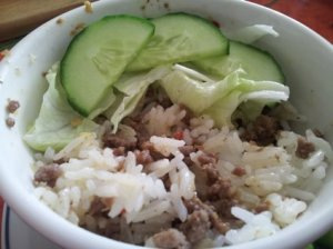 Thit bo ruoc sa: minced beef with lemongrass and shrimp paste