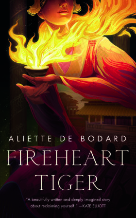 Fireheart Tiger cover, featuring a woman holding a Vietnamese palace in her sleeve