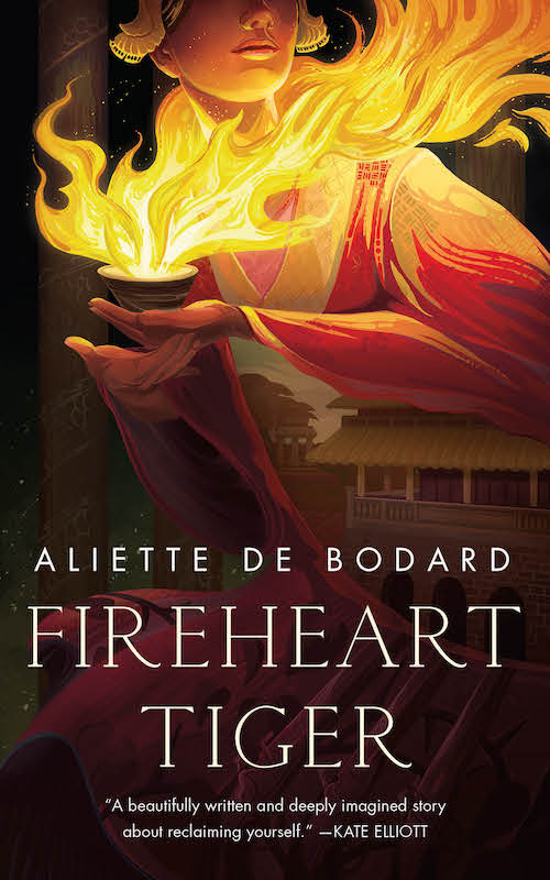 Cover of Fireheart Tiger, showing a woman with a palace in her sleeves holding a teacup on fire